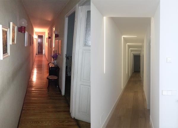 Antes y después de pasillo Paula Gonzalez Decoradora