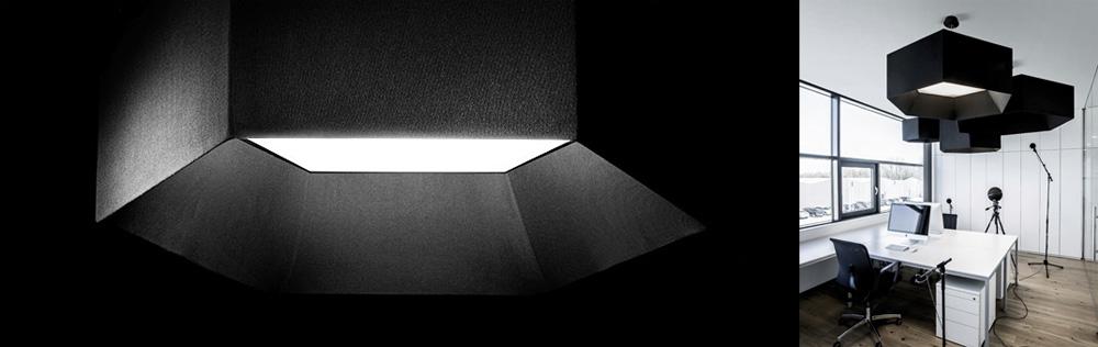 Paneles acústicos con iluminación incorporada (sistema de absorción de sonido): HEX-O de Xal