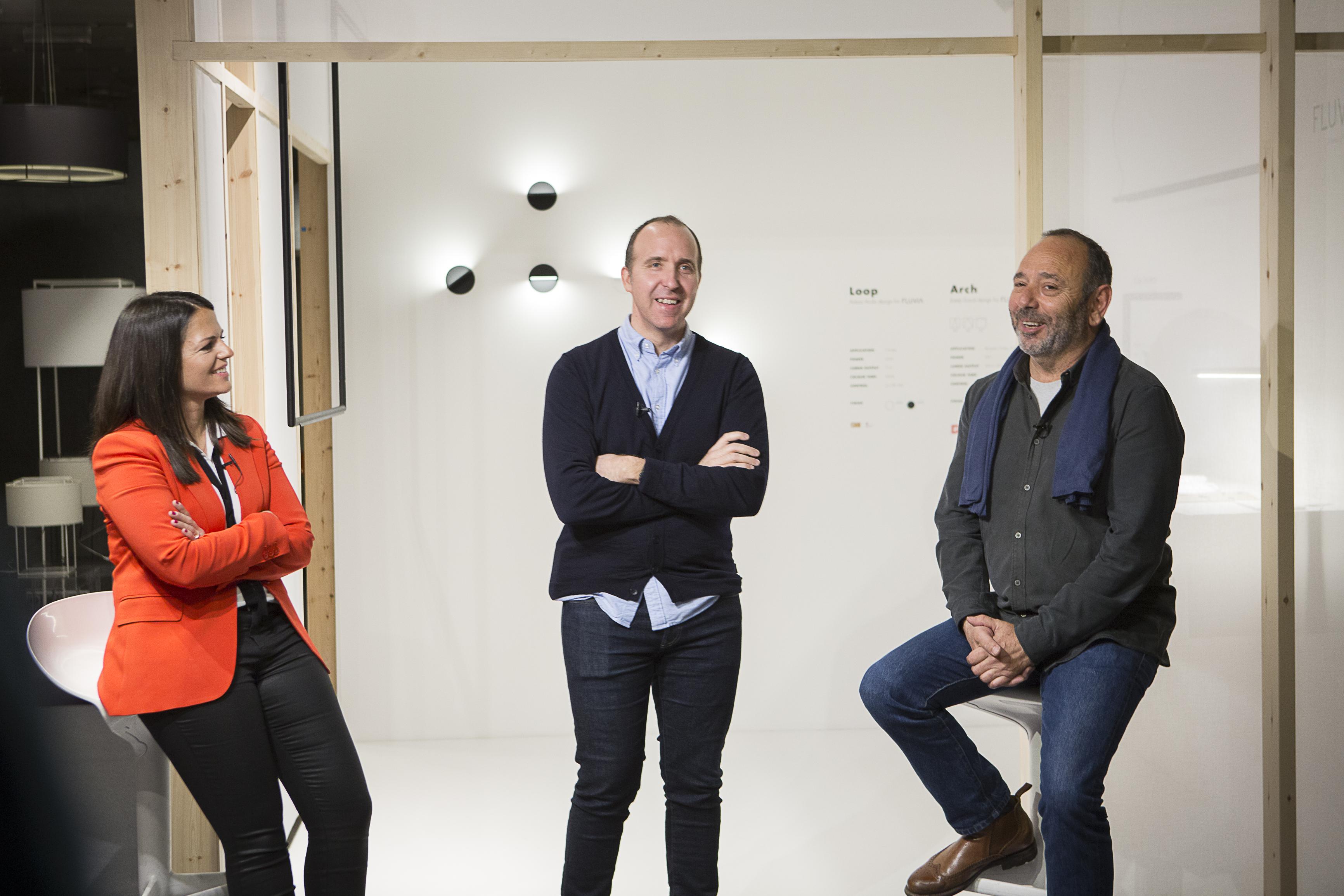 Anna Ferrer (Fluvia), Salvi Plaja (Simon) y Antoni Arola (Diseñador) durante la presentación ©airesphotospirit